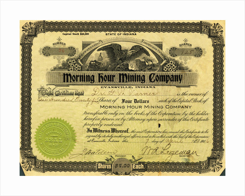 Morning Hour Mining Company Certificate by Corbis