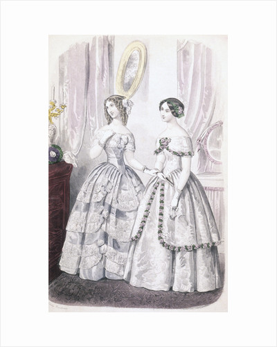 Illustration of Women Wearing Evening Dresses by Corbis