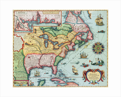 17th-Century Map of North America by Corbis