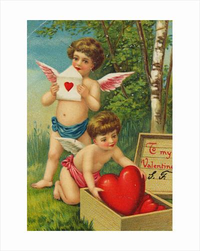 Cherub Pulling Heart from Box by Corbis