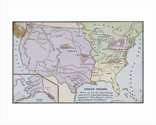 Map of America Showing Indian Tribes' Location by Corbis