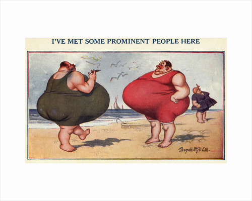 Overweight Men Smoking on the Beach by Corbis