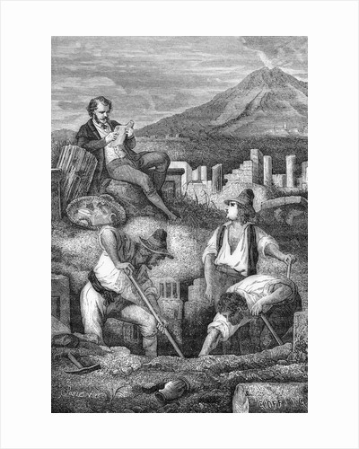 Engraving of First Archeological Dig at Pompeii by Corbis