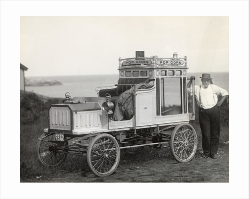 Portrait of Early Popcorn Vendor Next to His Automobile by Corbis