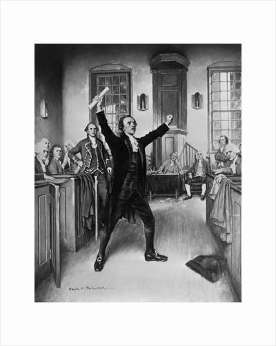 Illustration of Revolutionary Patrick Henry Gesturing During Speech by Corbis