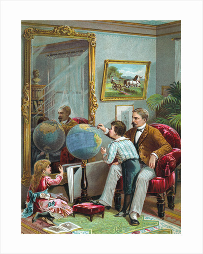 Lithograph of a Father Instructing His Children in Geography by Corbis