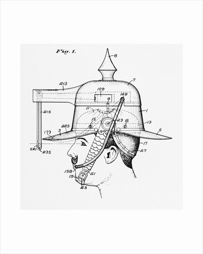 Diagrammed Illustration of a Helmet with Built in Weapon by Corbis