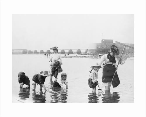 Children Crabbing on the Seashore by Corbis