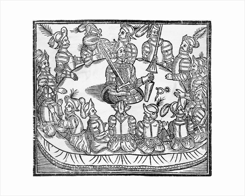 Woodcut of King Arthur and the Knights of the Round Table by Corbis