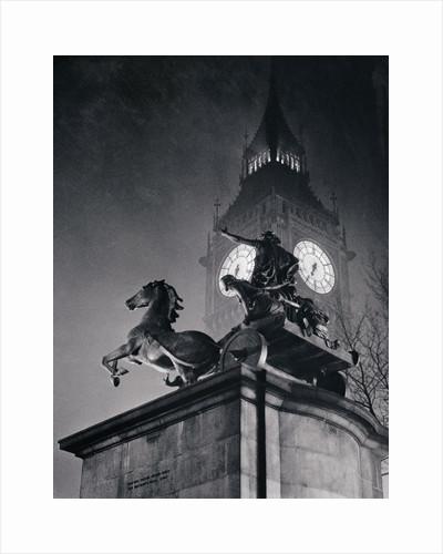Sculpture and Big Ben by Corbis