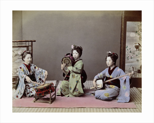 Three Japanese Girls Playing Traditional Japanese Instruments by Corbis