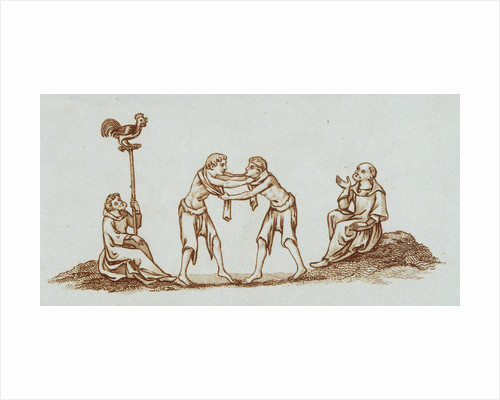 Sepia Engraving of 14th Century Scene with Wrestlers by Corbis
