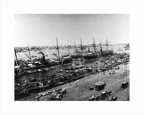 Steamer Ships in Calcutta Harbor by Corbis