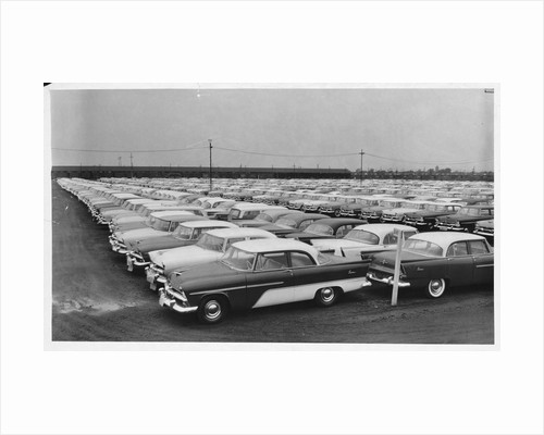 Rows of Plymouth Motor Cars Automobiles by Corbis