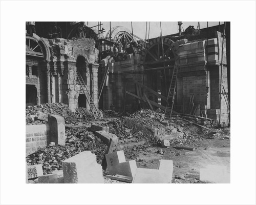 Post-War Reconstruction of Ruined Cathedral in France, ca. 1919 by Corbis