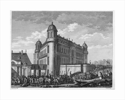 Illustration of Citizens Surrounding a Building During the French Revolution by Corbis