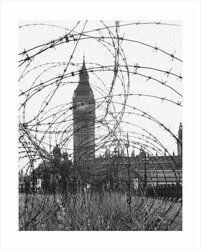 Big Ben Through Barbed Wire, ca. 1940 by Corbis