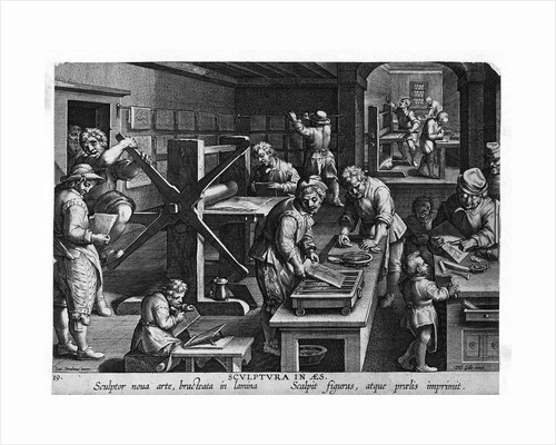Illustration of a Printing Shop by Johannes Stradanus