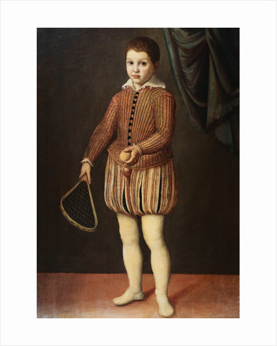 Italian Baroque Portrait of Boy with Racquet and Ball by Corbis