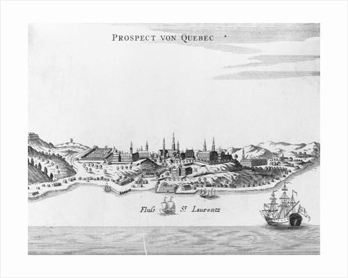 """Eighteenth Century Etching of """"Prospect von Quebec"""" by Corbis"""