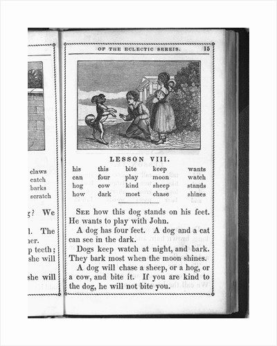 Page from McGuffey's Reader (Eclectic Series) showing boy and girl playing with dog. Lesson (VIII) deals with characteristics of pet dogs by Corbis