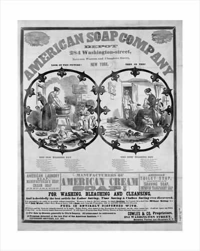 "Nineteenth Century Woodcut Advertisement for ""American Soap Company...Manufacturers of American Cream Soap"" by Corbis"
