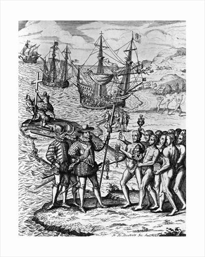 Eighteenth Century Etching of Christopher Columbus on Hispanola by Corbis