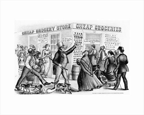 """Nineteenth Century Lithograph of """"Cheap Groceries"""" by Corbis"""