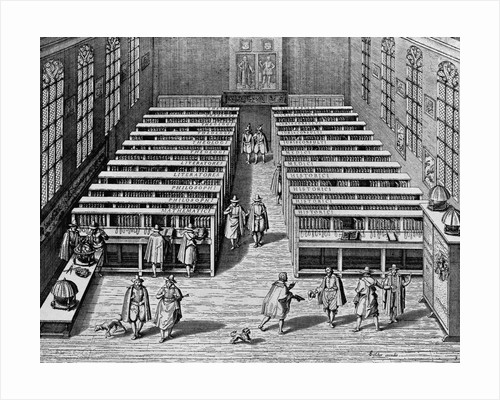 Seventeenth Century Engraving Interior of the Leiden Library by Corbis