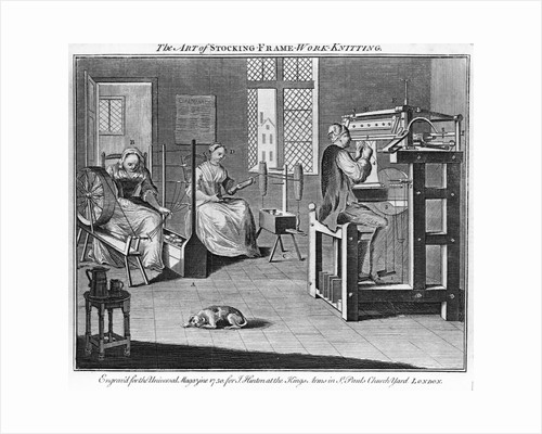 "Eighteenth Century English Engraving ""The Art of Stocking Frame Work Knitting"" by Corbis"