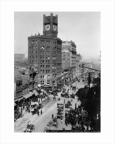 Chronicle Building Clock Tower Dominates Market Street by Corbis