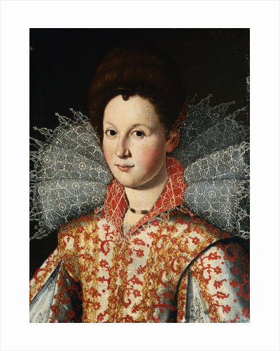 Portrait of a Lady, Bust Length, Wearing an Embroidered Dress with Lace Ruff Collar by Studio of Santi di Tito