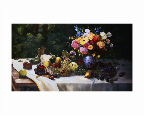 A Bowl of Grapes, Apples and Other Fruit with a Vase of Summer Flowers on a Draped Table by Adam Burghardt