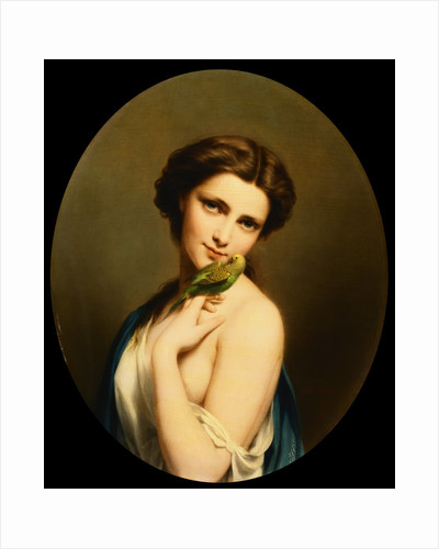 A Young Beauty with a Parakeet by Fritz Zuber-Buhler