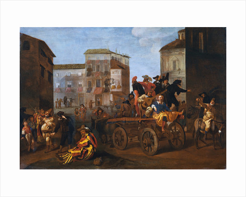 Actors from the Commedia dell'Arte on a Wagon in a Town Square by Jan Miel