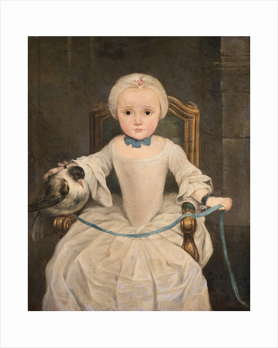 A Young Girl Seated Wearing an Ivory Dress and Bonnet with Her Tame Pigeon Resting on the Arm of Her Chair Secured with a Blue Ribbon by Circle of Christian Lindner