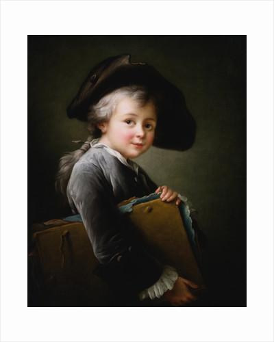 A Young Boy Holding a Portfolio by Francois-Hubert Drouais