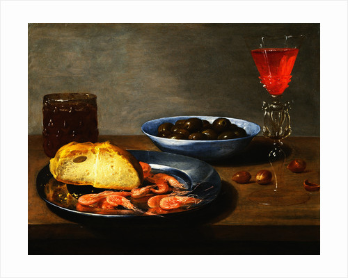 A Plate with Prawns and a Roll, a Bowl with Olives, a Facon de Venise Glass and Another Glass on a Table by Jacob van Es