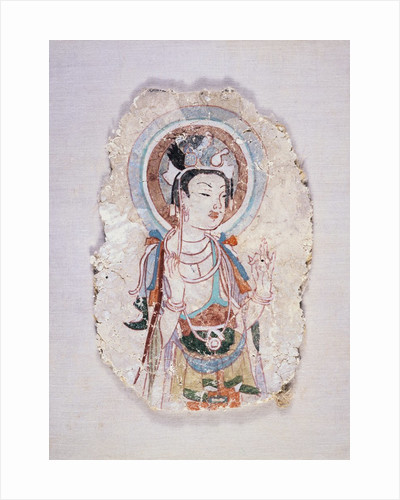 Tang Dynasty Fragment of a Painted Fresco of a Bodhisattva by Corbis