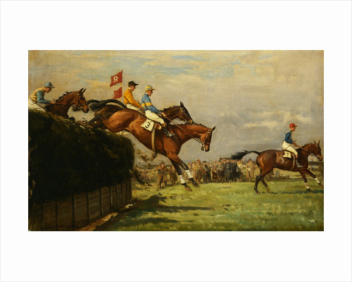 The Grand National Steeplechase: Really True and Forbia at Beecher's Brook by John Sanderson-Wells