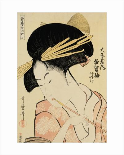 A Half-Length Portrait of the Courtesan Shirotama of the Tamaya by Kitagawa Utamaro