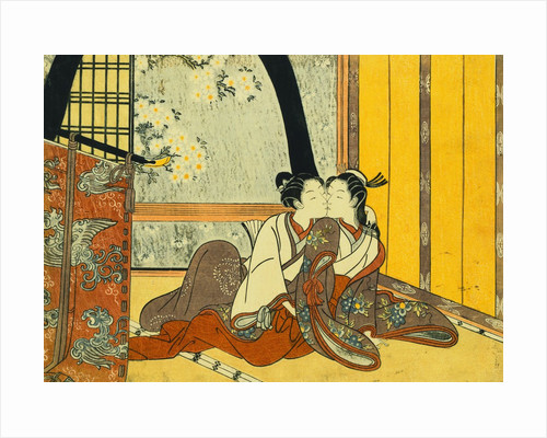 Two Lovers in an Interior by a Yellow Blind attributed to Harunobu by Corbis