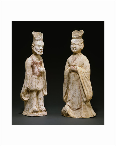 Two Painted Red Pottery Standing Figures from the Tang Dynasty by Corbis