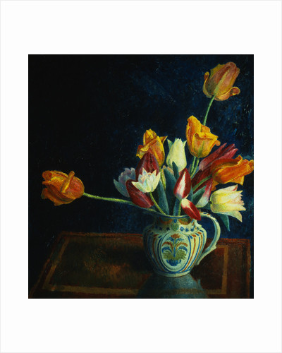 Painting of Tulips in a Staffordshire Jug by Dora Carrington