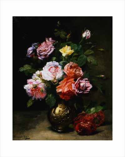 Painting of Roses in a Vase by Dominique Rozier