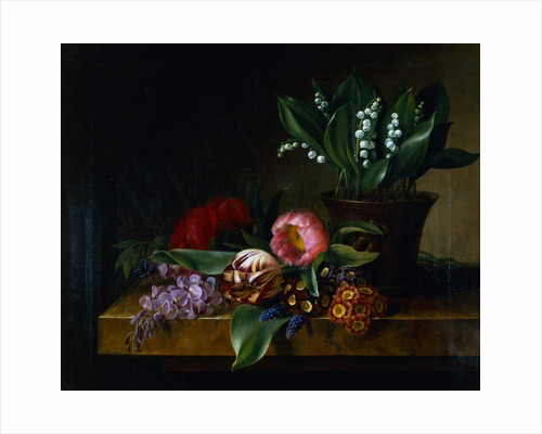 Painting of a Lily of the Valley, Tulips, Primula and Other Flowers on a Ledge by Hanne Hellesen