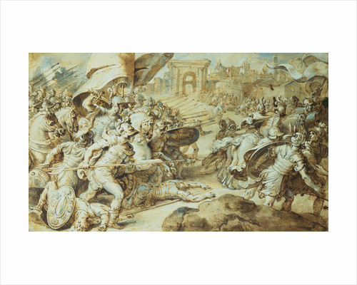 A Battle Scene Outside the Walls of Rome (?) by Circle of Federico Zuccaro, Retouched by Peter Paul Rubens