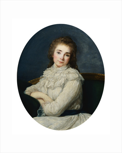 Portrait of a Lady Wearing a White Dress Tied With a Blue Sash On a Sofa by Angelica Kaufmann