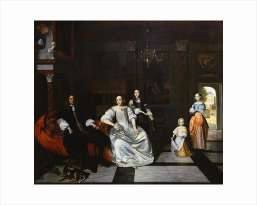 Painting of a Group Portrait of the Jacott Hoppesack Family in a Sumptuous Interior by Pieter de Hooch