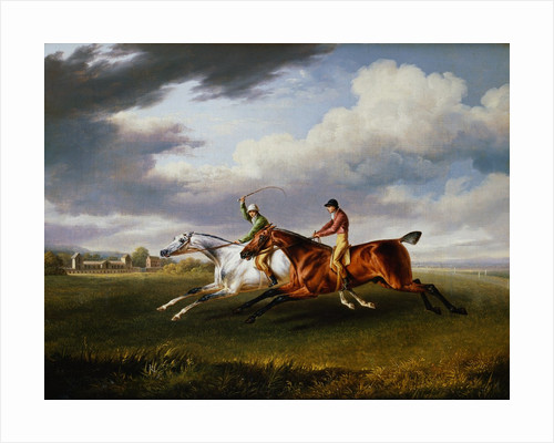 Two Racehorses With Jockeys Up Exercising in a Landscape by Charles Towne